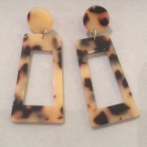 NWT Leopard Rectangle Earrings